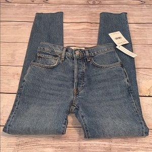 We The Free Dark Blue Raw Hem Button Fly Jeans
